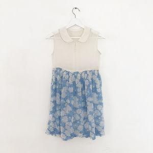 vintage 20s floral daisy cotton dress batiste XS